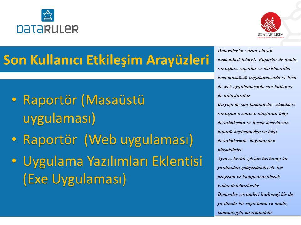 Son Kullanıcı Etkileşim Arayüzleri • Raportör (Masaüstü uygulaması) • Raportör (Web uygulaması) • Uygulama Yazılımları Eklentisi (Exe Uygulaması) • Ra