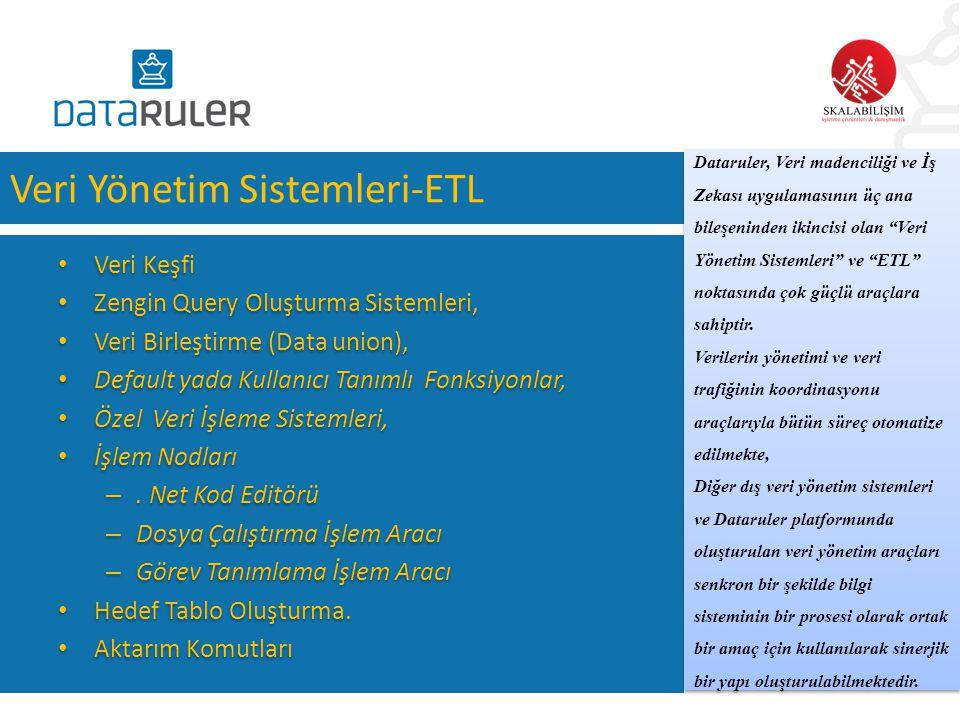Veri Yönetim Sistemleri-ETL • Veri Keşfi • Zengin Query Oluşturma Sistemleri, • Veri Birleştirme (Data union), • Default yada Kullanıcı Tanımlı Fonksi
