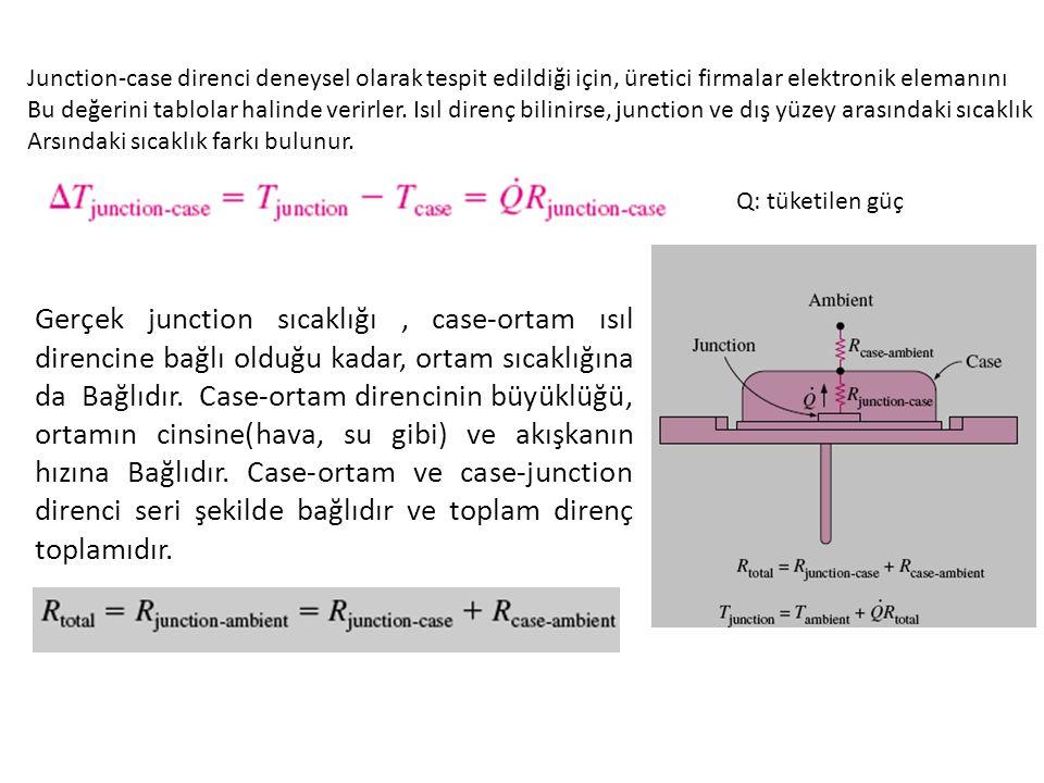 Junction-case direnci deneysel olarak tespit edildiği için, üretici firmalar elektronik elemanını Bu değerini tablolar halinde verirler.