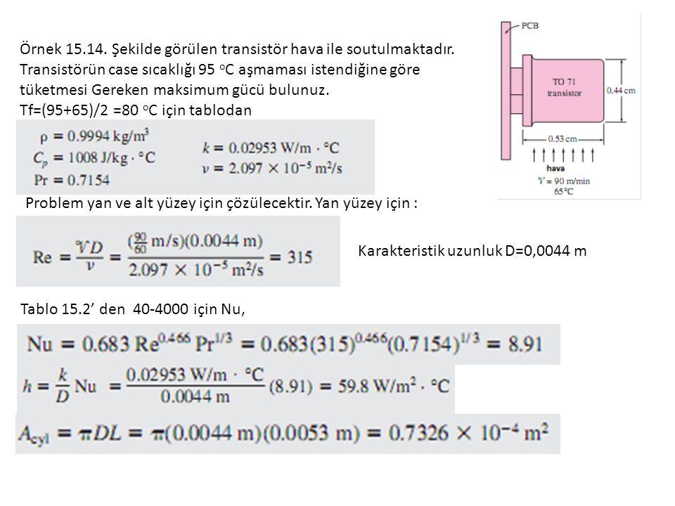 Örnek 15.14.Şekilde görülen transistör hava ile soutulmaktadır.