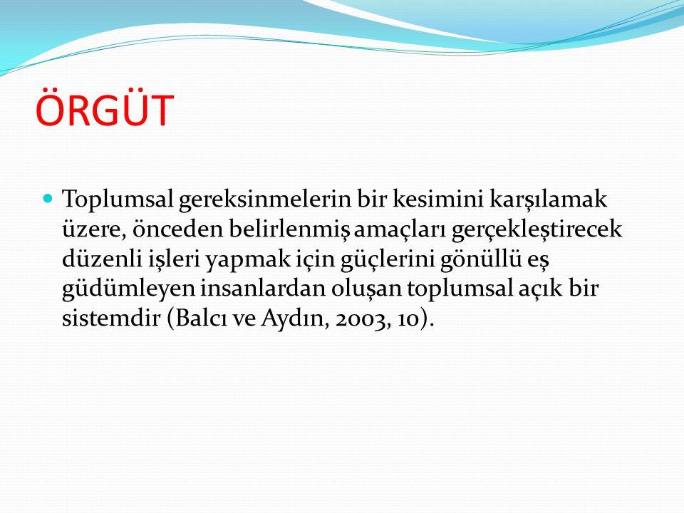 YÖNETİM  Bir örgütün amaçlarına ulaştıracak işleri yapmak için bir araya gelen insanları örgütleyip eş güdümleyerek eyleme geçirme sürecidir (Balcı ve Aydın, 2003, 10).