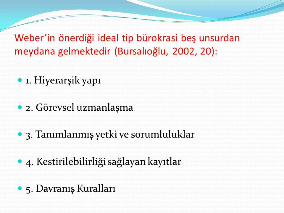 Weber'in önerdiği ideal tip bürokrasi beş unsurdan meydana gelmektedir (Bursalıoğlu, 2002, 20):  1. Hiyerarşik yapı  2. Görevsel uzmanlaşma  3. Tan