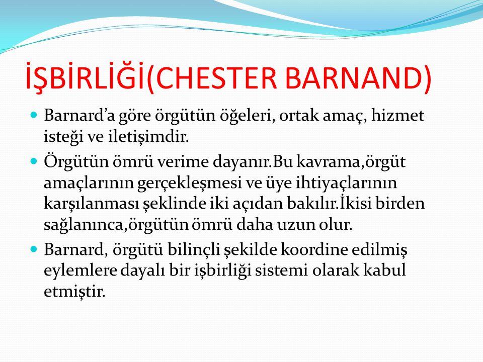 İŞBİRLİĞİ(CHESTER BARNAND)  Barnard'a göre örgütün öğeleri, ortak amaç, hizmet isteği ve iletişimdir.  Örgütün ömrü verime dayanır.Bu kavrama,örgüt