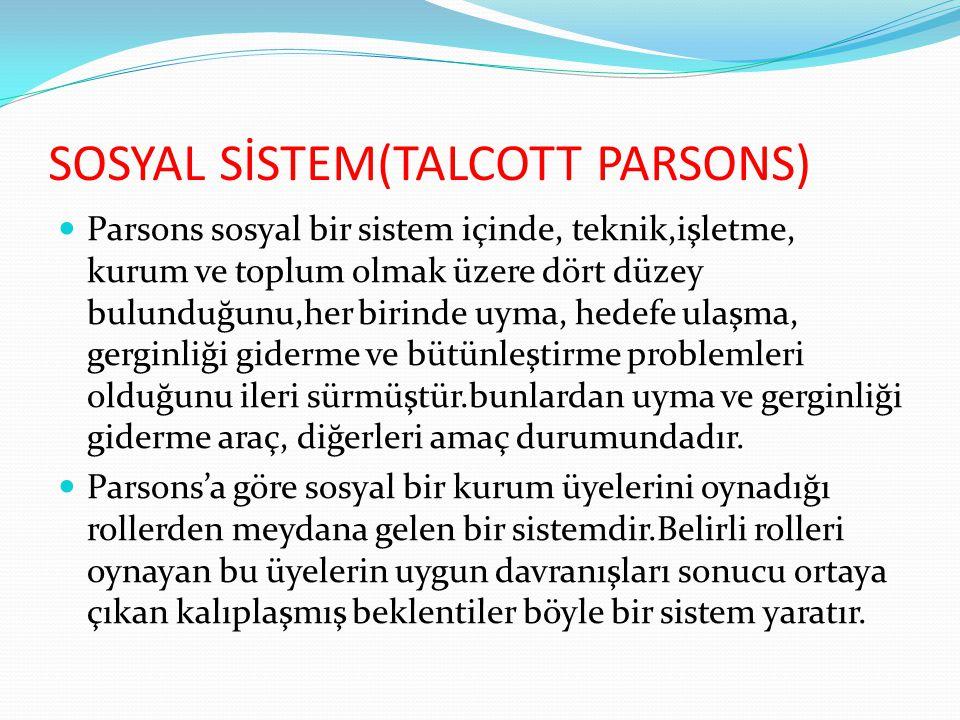 SOSYAL SİSTEM(TALCOTT PARSONS)  Parsons sosyal bir sistem içinde, teknik,işletme, kurum ve toplum olmak üzere dört düzey bulunduğunu,her birinde uyma