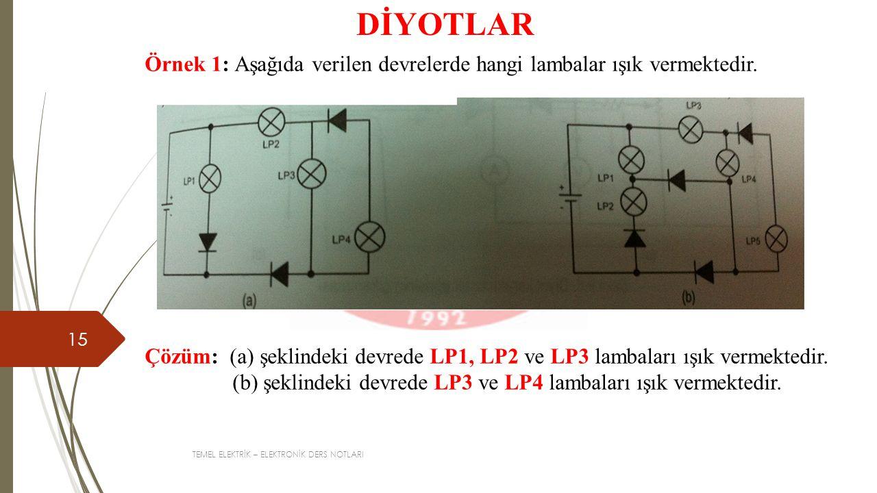 TEMEL ELEKTRİK – ELEKTRONİK DERS NOTLARI 15 DİYOTLAR Örnek 1: Aşağıda verilen devrelerde hangi lambalar ışık vermektedir.