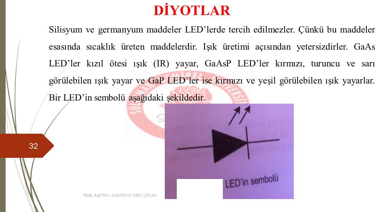 TEMEL ELEKTRİK – ELEKTRONİK DERS NOTLARI 32 DİYOTLAR Silisyum ve germanyum maddeler LED'lerde tercih edilmezler.