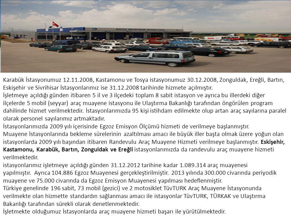 Karabük İstasyonumuz 12.11.2008, Kastamonu ve Tosya istasyonumuz 30.12.2008, Zonguldak, Ereğli, Bartın, Eskişehir ve Sivrihisar İstasyonlarımız ise 31