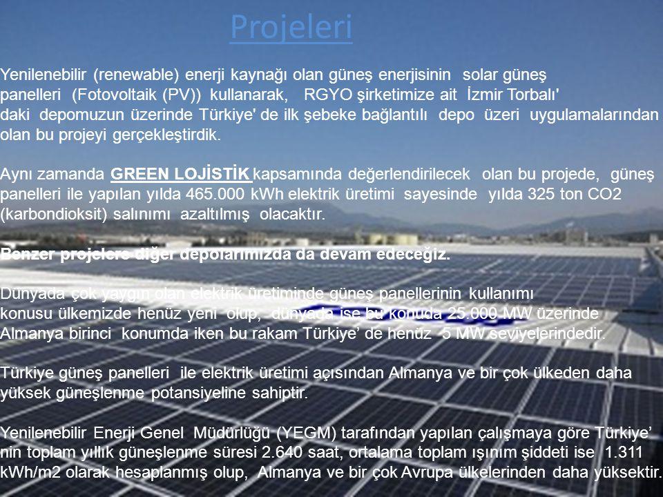 Projeleri Yenilenebilir (renewable) enerji kaynağı olan güneş enerjisinin solar güneş panelleri (Fotovoltaik (PV)) kullanarak, RGYO şirketimize ait İz