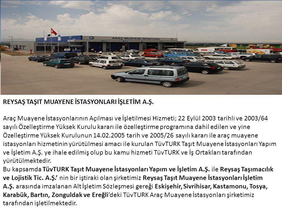REYSAŞ TAŞIT MUAYENE İSTASYONLARI İŞLETİM A.Ş. Araç Muayene İstasyonlarının Açılması ve İşletilmesi Hizmeti; 22 Eylül 2003 tarihli ve 2003/64 sayılı Ö