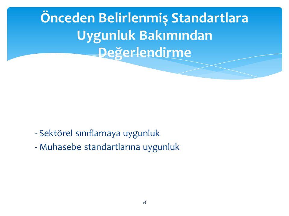 - Sektörel sınıflamaya uygunluk - Muhasebe standartlarına uygunluk Önceden Belirlenmiş Standartlara Uygunluk Bakımından Değerlendirme 16