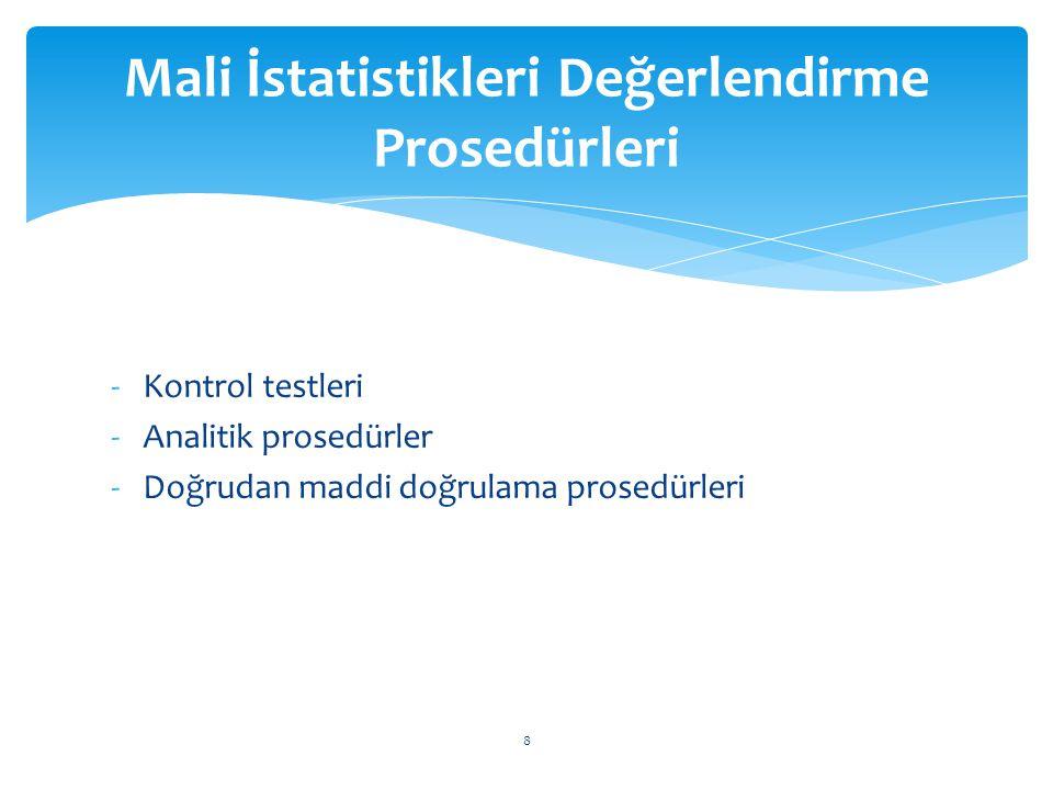 -Kontrol testleri -Analitik prosedürler -Doğrudan maddi doğrulama prosedürleri Mali İstatistikleri Değerlendirme Prosedürleri 8