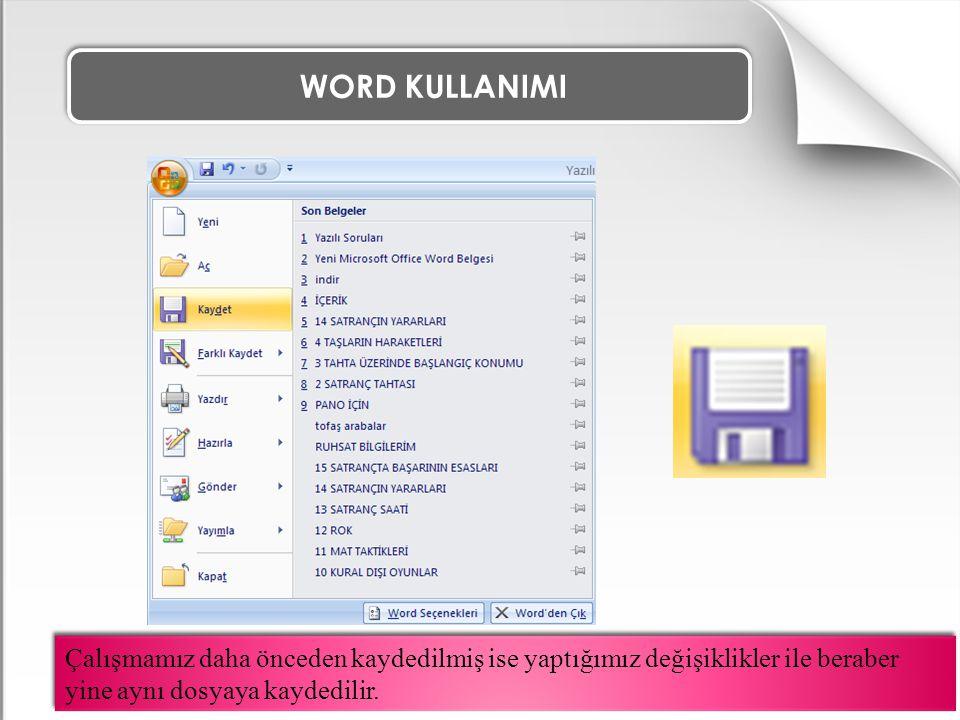 WORD KULLANIMI Çalışmamız daha önceden kaydedilmiş ise yaptığımız değişiklikler ile beraber yine aynı dosyaya kaydedilir.