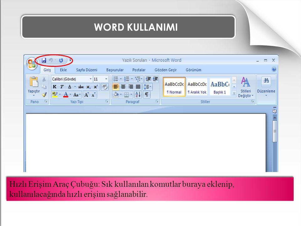 WORD KULLANIMI ÖRNEK ALIŞTIRMA 3