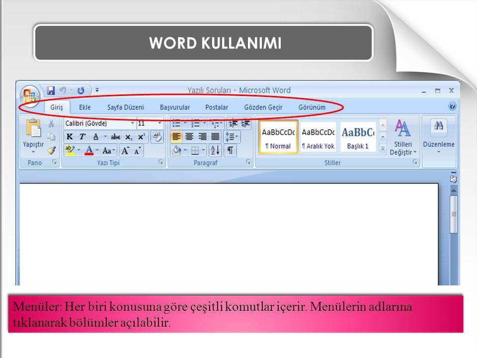 WORD KULLANIMI Menüler: Her biri konusuna göre çeşitli komutlar içerir. Menülerin adlarına tıklanarak bölümler açılabilir.