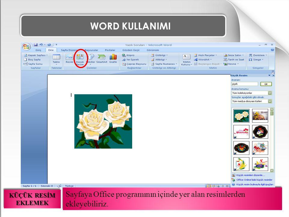 WORD KULLANIMI Sayfaya Office programının içinde yer alan resimlerden ekleyebiliriz. KÜÇÜK RESİM EKLEMEK
