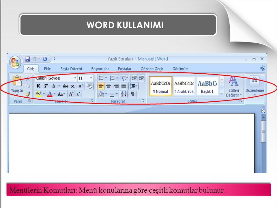 WORD KULLANIMI Seçili olan metni satırın sağına dayar. METNİ SAĞA HİZALA