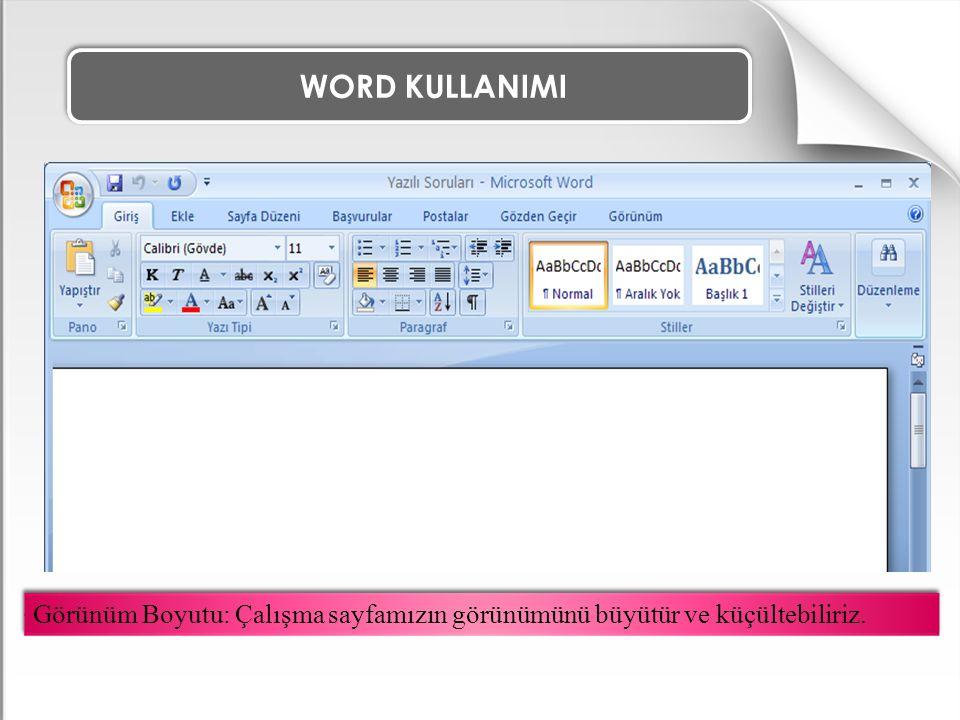 WORD KULLANIMI ÖRNEK ALIŞTIRMA 2