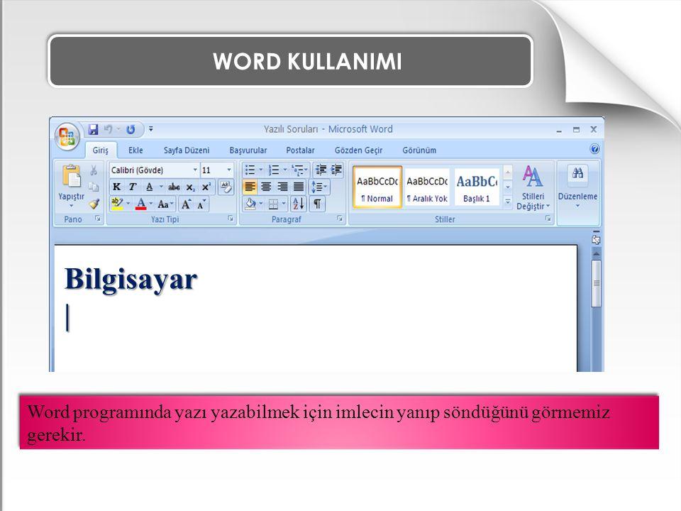 WORD KULLANIMI Word programında yazı yazabilmek için imlecin yanıp söndüğünü görmemiz gerekir. Bilgisayar|