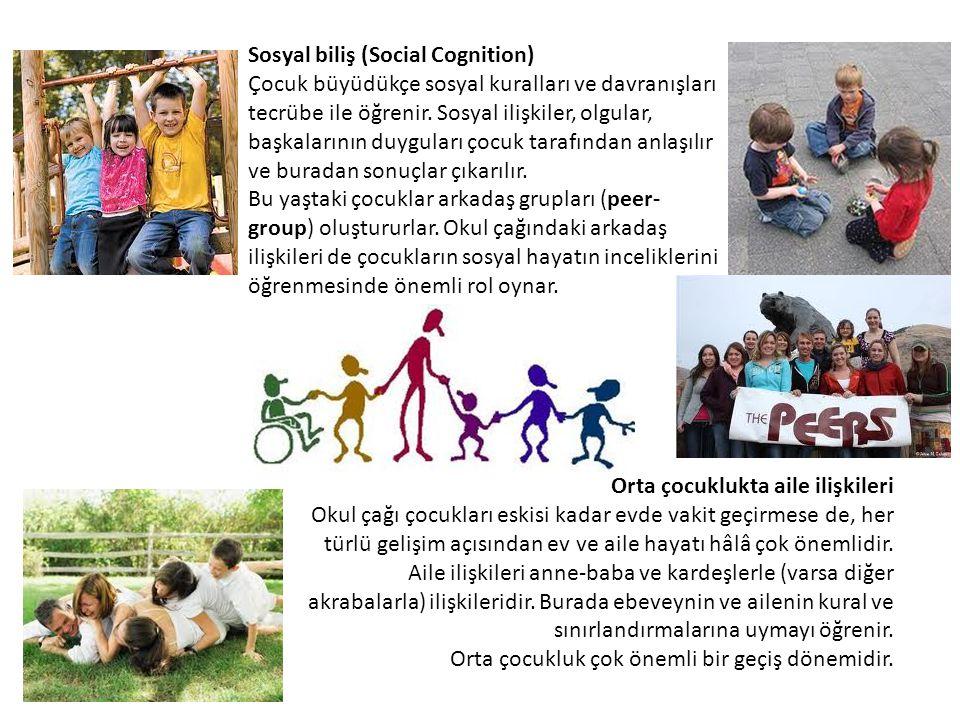 Sosyal biliş (Social Cognition) Çocuk büyüdükçe sosyal kuralları ve davranışları tecrübe ile öğrenir. Sosyal ilişkiler, olgular, başkalarının duygular