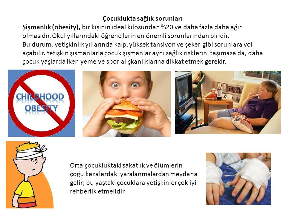 Çocuklukta sağlık sorunları Şişmanlık (obesity), bir kişinin ideal kilosundan %20 ve daha fazla daha ağır olmasıdır. Okul yıllarındaki öğrencilerin en