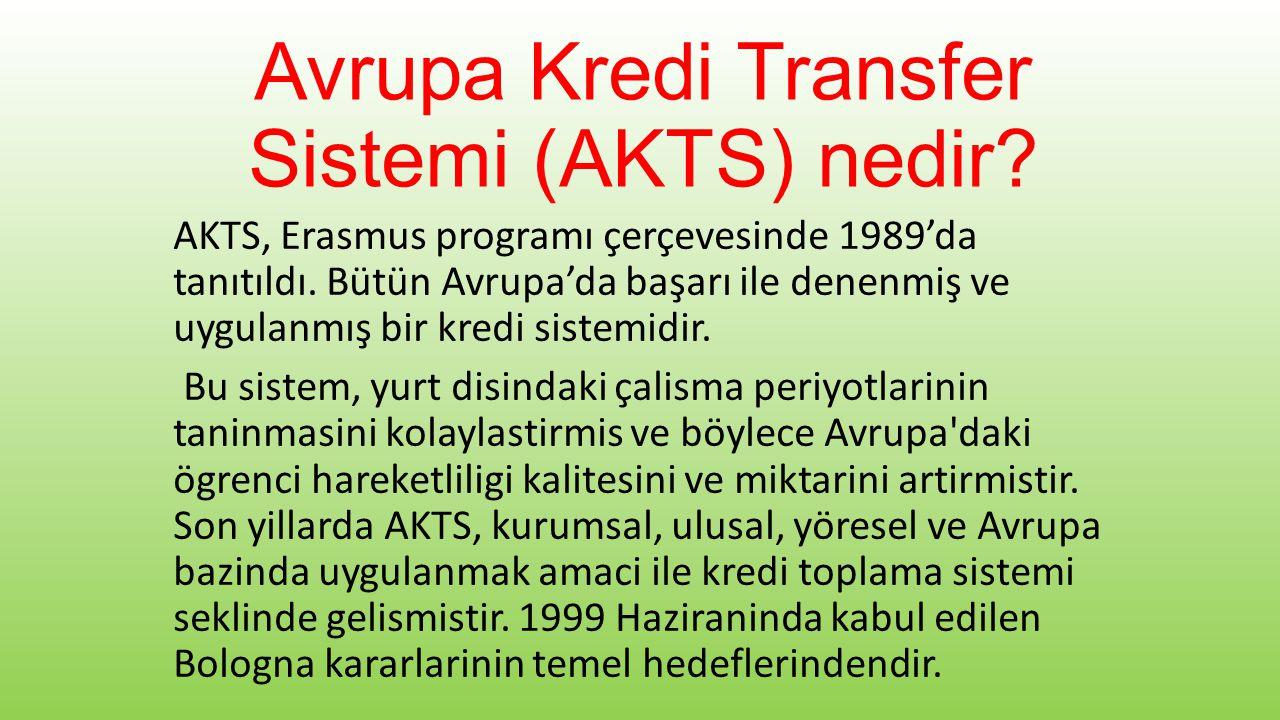 Avrupa Kredi Transfer Sistemi (AKTS) nedir. AKTS, Erasmus programı çerçevesinde 1989'da tanıtıldı.