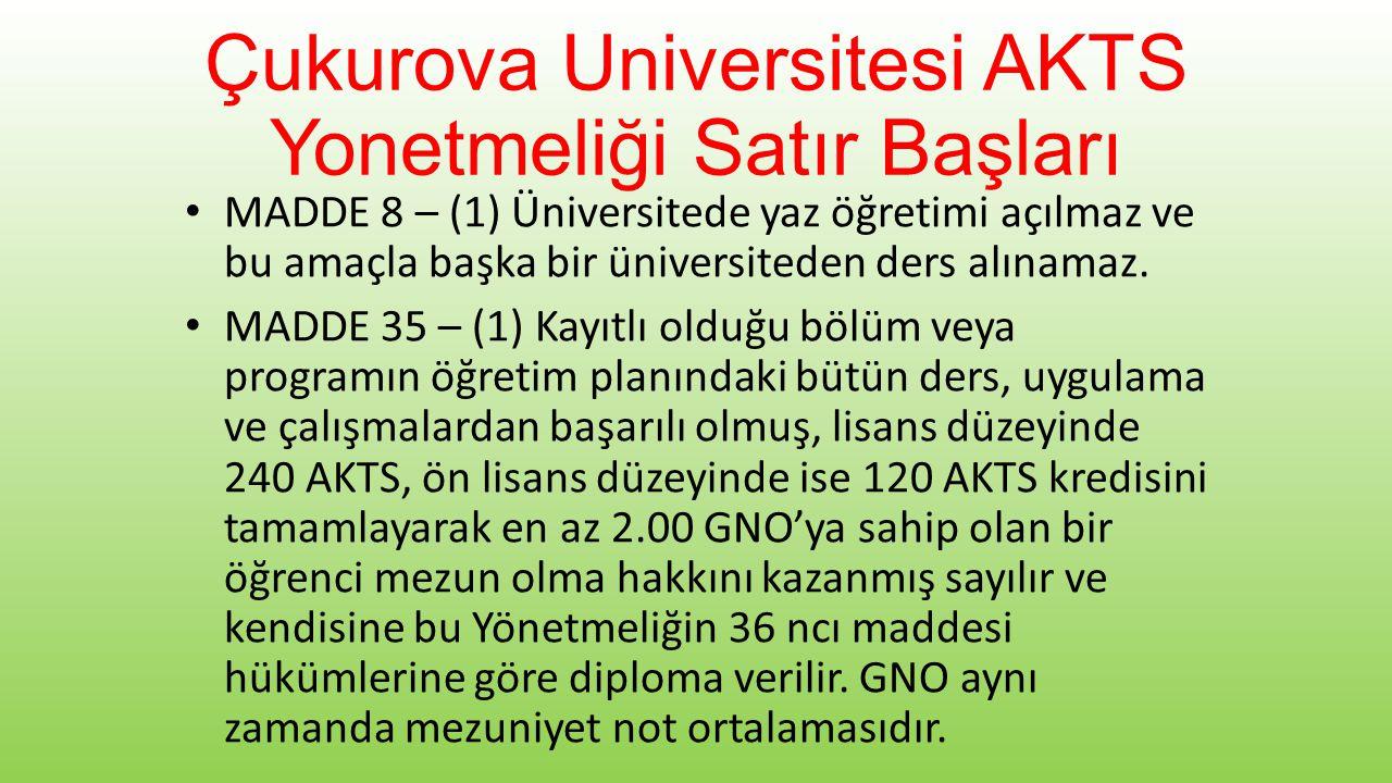 Çukurova Universitesi AKTS Yonetmeliği Satır Başları • MADDE 8 – (1) Üniversitede yaz öğretimi açılmaz ve bu amaçla başka bir üniversiteden ders alınamaz.