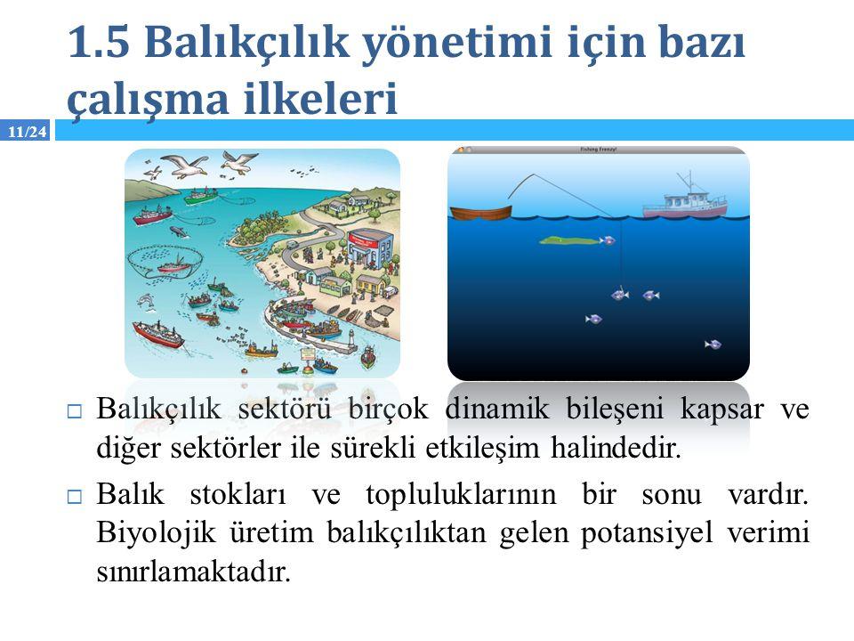 11/24 1.5 Balıkçılık yönetimi için bazı çalışma ilkeleri  Balıkçılık sektörü birçok dinamik bileşeni kapsar ve diğer sektörler ile sürekli etkileşim