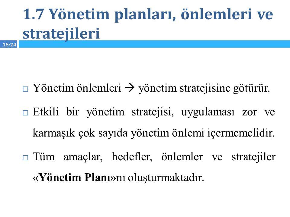 15/24 1.7 Yönetim planları, önlemleri ve stratejileri  Yönetim önlemleri  yönetim stratejisine götürür.  Etkili bir yönetim stratejisi, uygulaması