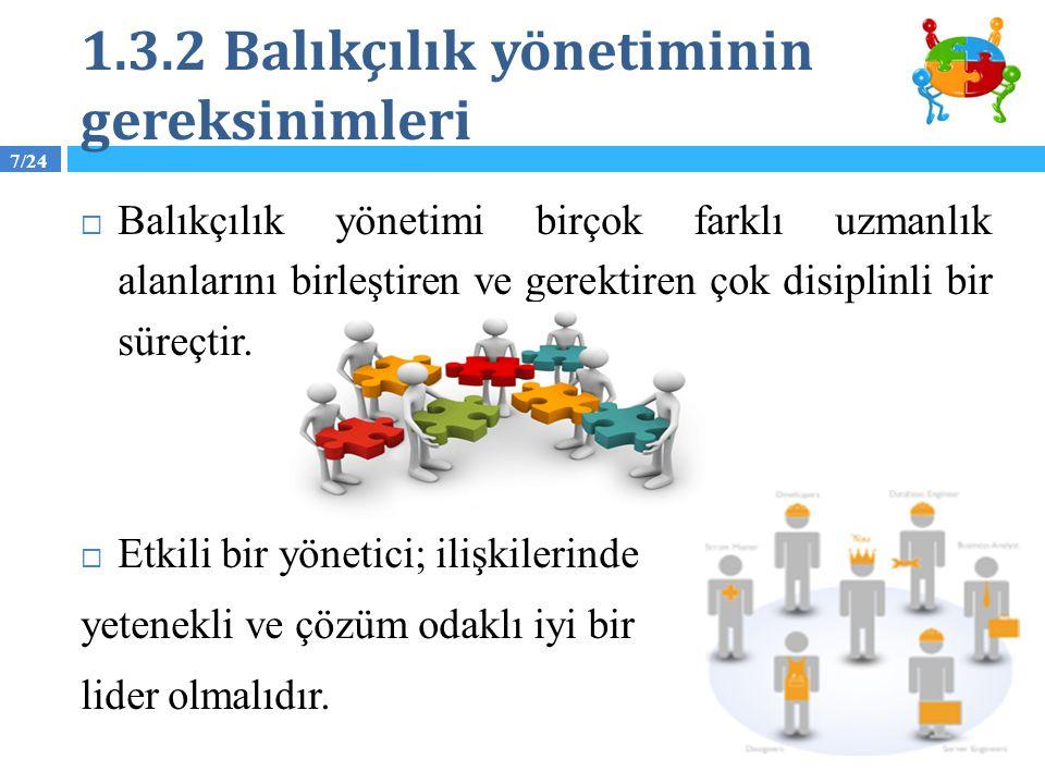 7/24 1.3.2 Balıkçılık yönetiminin gereksinimleri  Balıkçılık yönetimi birçok farklı uzmanlık alanlarını birleştiren ve gerektiren çok disiplinli bir