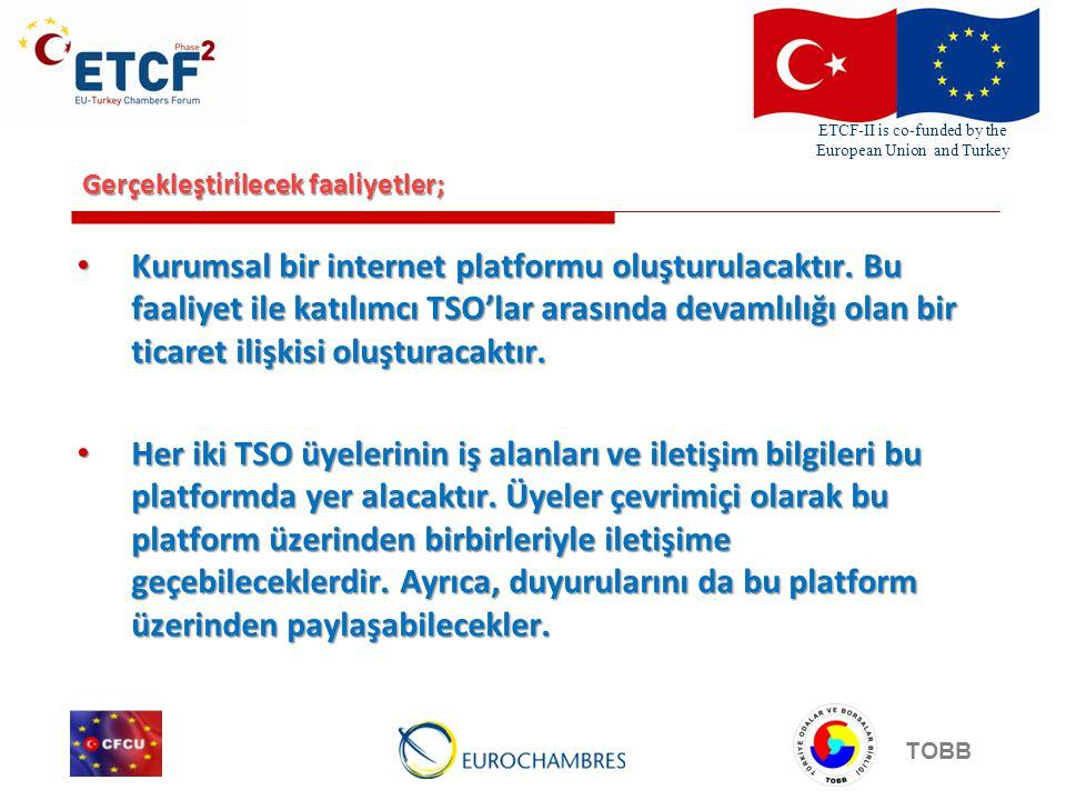 ETCF-II is co-funded by the European Union and Turkey TOBB Gerçekleştirilecek faaliyetler; • Kurumsal bir internet platformu oluşturulacaktır. Bu faal