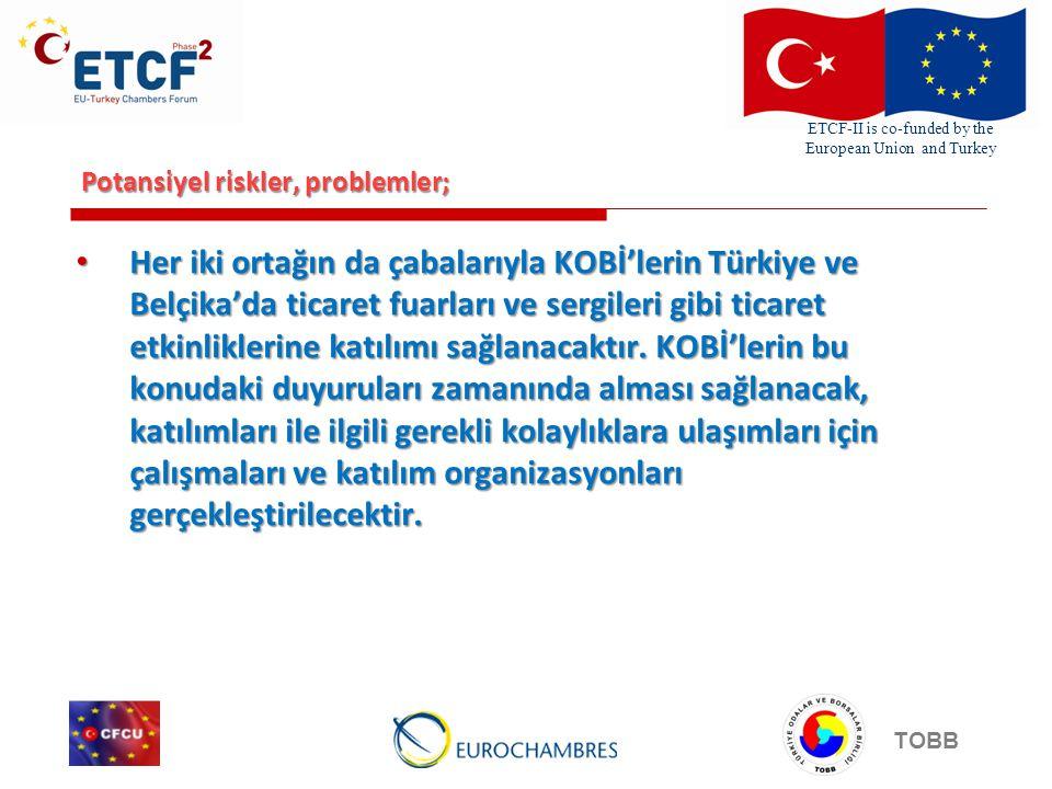ETCF-II is co-funded by the European Union and Turkey TOBB Potansiyel riskler, problemler; • Her iki ortağın da çabalarıyla KOBİ'lerin Türkiye ve Belçika'da ticaret fuarları ve sergileri gibi ticaret etkinliklerine katılımı sağlanacaktır.