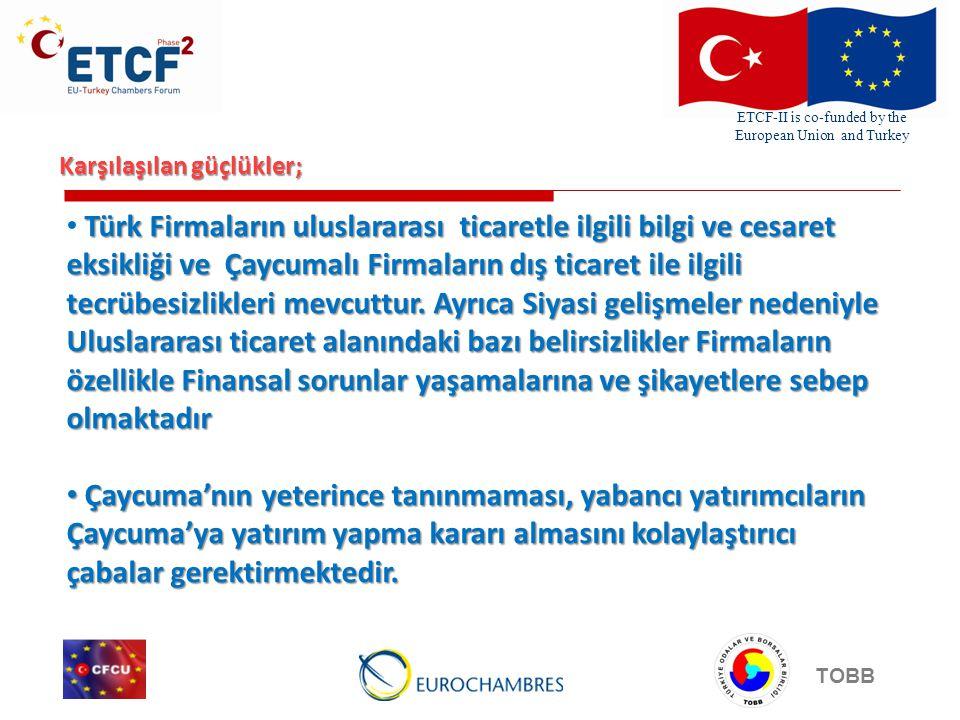 ETCF-II is co-funded by the European Union and Turkey TOBB Karşılaşılan güçlükler; Türk Firmaların uluslararası ticaretle ilgili bilgi ve cesaret eksikliği ve Çaycumalı Firmaların dış ticaret ile ilgili tecrübesizlikleri mevcuttur.