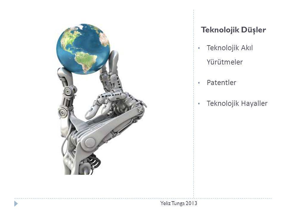 Teknolojik Düşler • Teknolojik Akıl Yürütmeler • Patentler • Teknolojik Hayaller Yeliz Tunga 2013