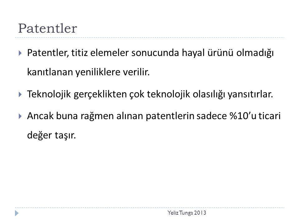 Patentler Yeliz Tunga 2013  Patentler, titiz elemeler sonucunda hayal ürünü olmadığı kanıtlanan yeniliklere verilir.  Teknolojik gerçeklikten çok te