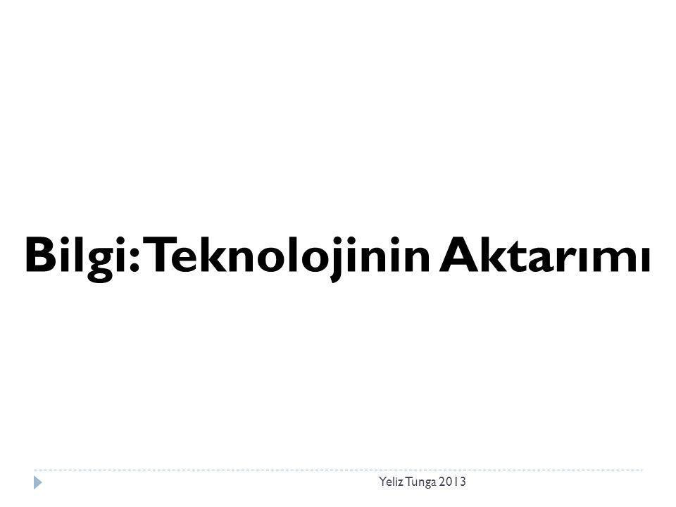 Yeliz Tunga 2013 Bilgi: Teknolojinin Aktarımı