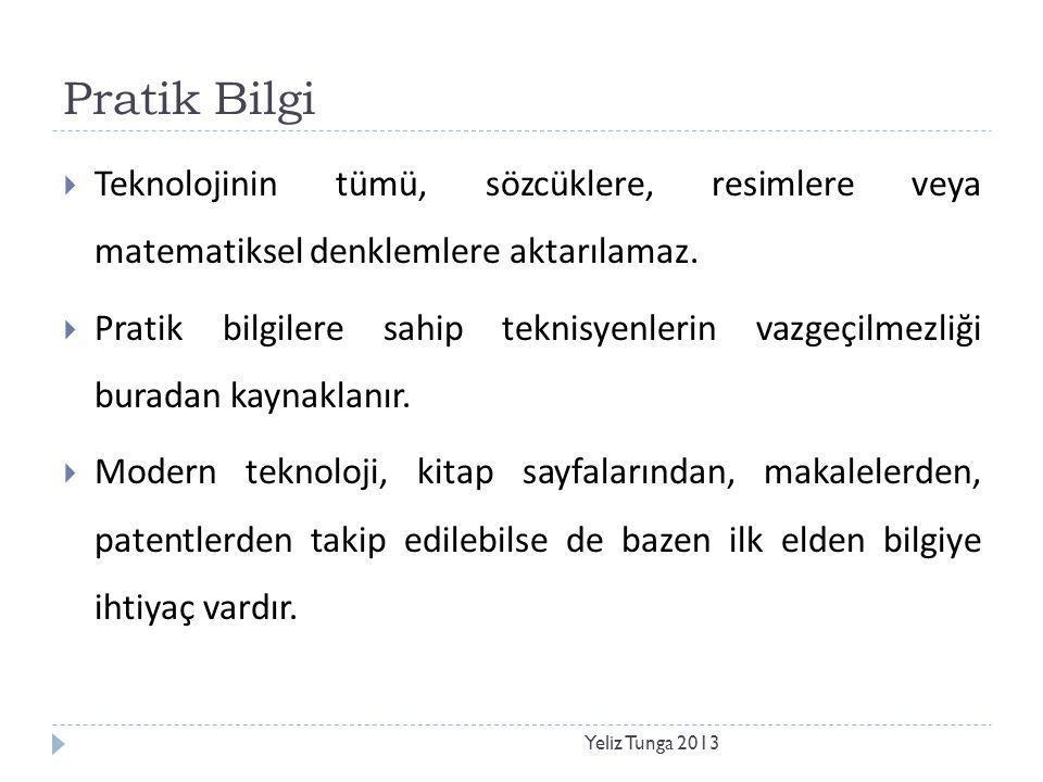 Pratik Bilgi Yeliz Tunga 2013  Teknolojinin tümü, sözcüklere, resimlere veya matematiksel denklemlere aktarılamaz.  Pratik bilgilere sahip teknisyen