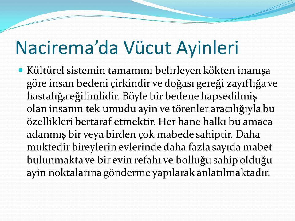 Nacirema'da Vücut Ayinleri  Kültürel sistemin tamamını belirleyen kökten inanışa göre insan bedeni çirkindir ve doğası gereği zayıflığa ve hastalığa