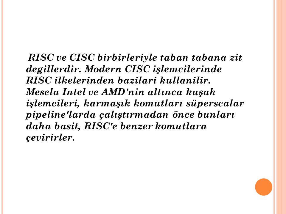 RISC ve CISC birbirleriyle taban tabana zit degillerdir. Modern CISC işlemcilerinde RISC ilkelerinden bazilari kullanilir. Mesela Intel ve AMD'nin alt