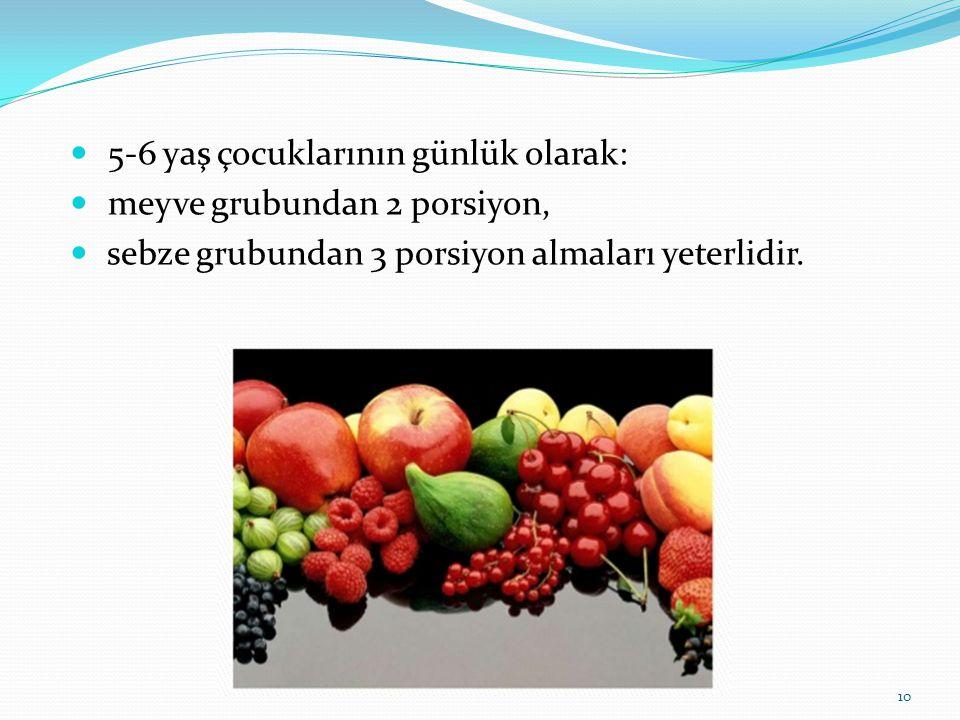  5-6 yaş çocuklarının günlük olarak:  meyve grubundan 2 porsiyon,  sebze grubundan 3 porsiyon almaları yeterlidir. 10