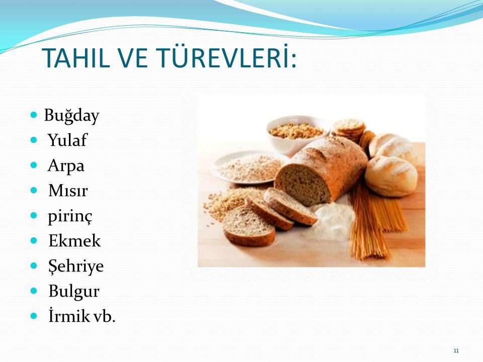 TAHIL VE TÜREVLERİ:  Buğday  Yulaf  Arpa  Mısır  pirinç  Ekmek  Şehriye  Bulgur  İrmik vb. 11