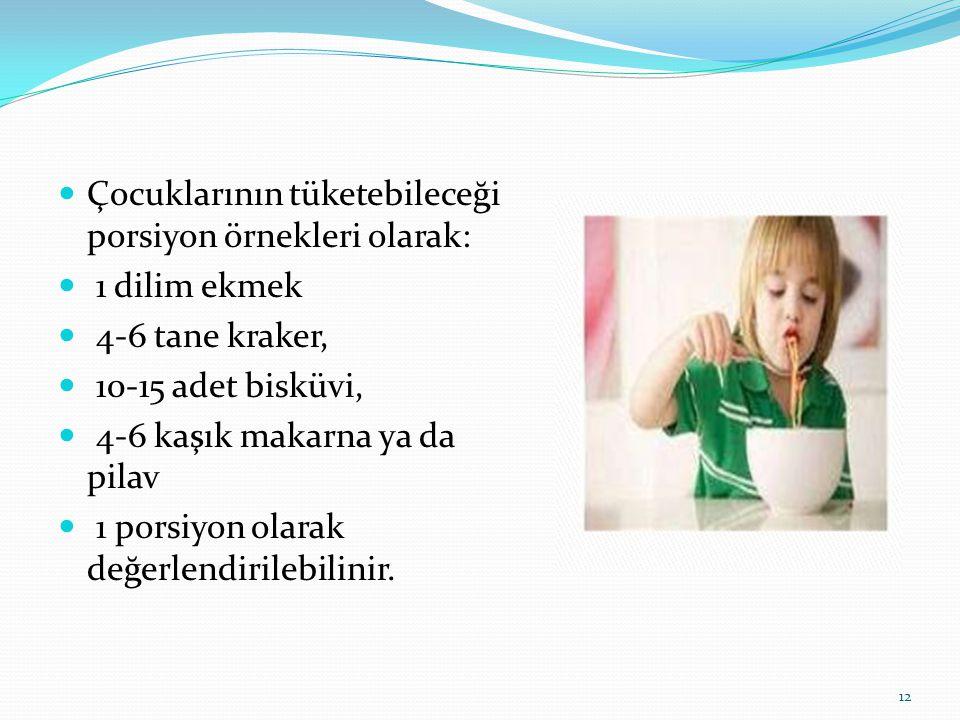  Çocuklarının tüketebileceği porsiyon örnekleri olarak:  1 dilim ekmek  4-6 tane kraker,  10-15 adet bisküvi,  4-6 kaşık makarna ya da pilav  1