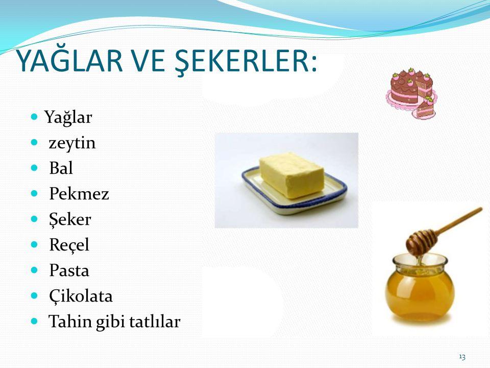 YAĞLAR VE ŞEKERLER:  Yağlar  zeytin  Bal  Pekmez  Şeker  Reçel  Pasta  Çikolata  Tahin gibi tatlılar 13