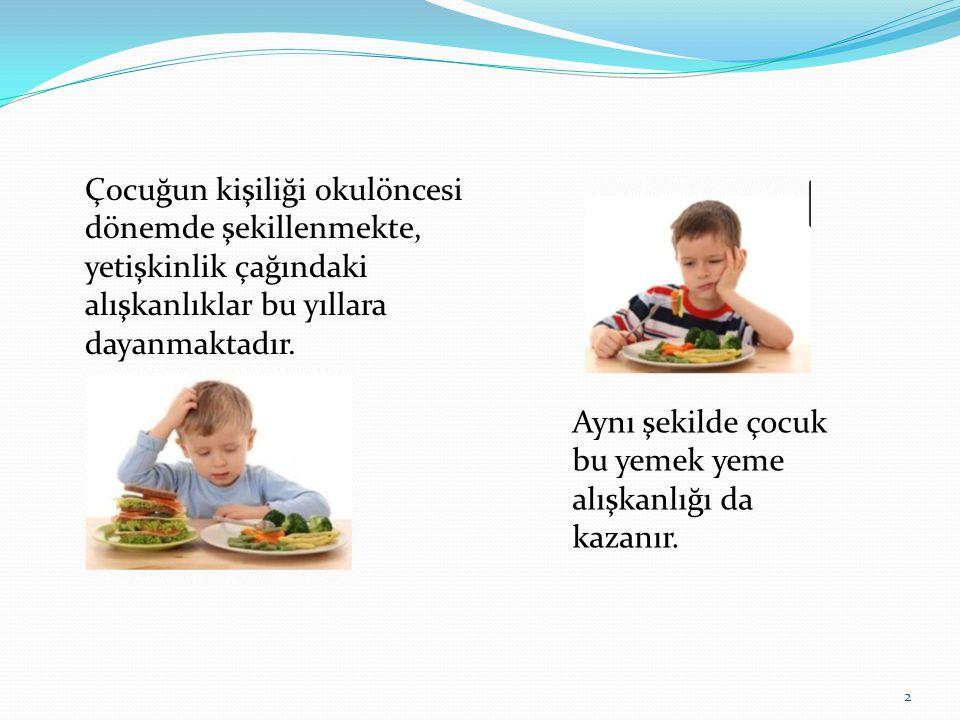 Çocuğun kişiliği okulöncesi dönemde şekillenmekte, yetişkinlik çağındaki alışkanlıklar bu yıllara dayanmaktadır. Aynı şekilde çocuk bu yemek yeme alış