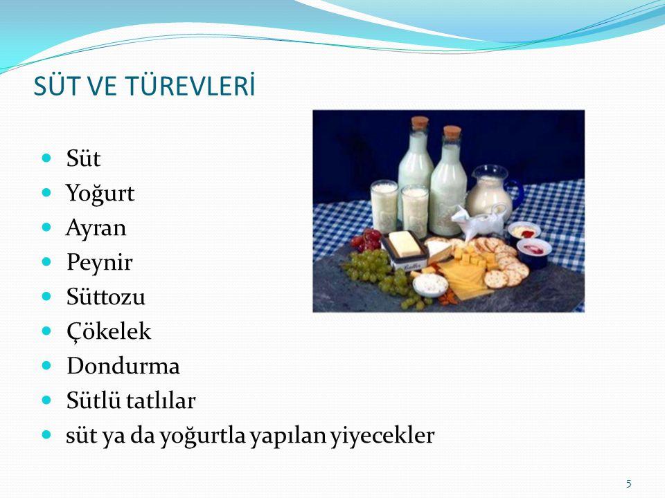 SÜT VE TÜREVLERİ  Süt  Yoğurt  Ayran  Peynir  Süttozu  Çökelek  Dondurma  Sütlü tatlılar  süt ya da yoğurtla yapılan yiyecekler 5
