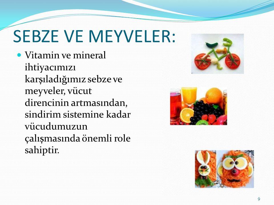 SEBZE VE MEYVELER:  Vitamin ve mineral ihtiyacımızı karşıladığımız sebze ve meyveler, vücut direncinin artmasından, sindirim sistemine kadar vücudumu