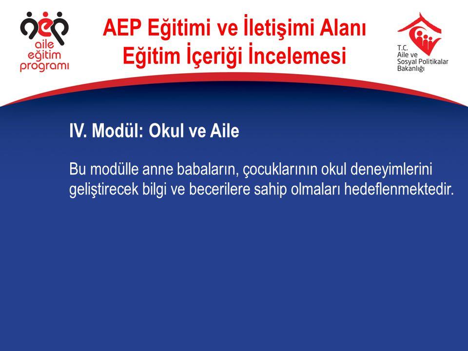 IV. Modül: Okul ve Aile AEP Eğitimi ve İletişimi Alanı Eğitim İçeriği İncelemesi Bu modülle anne babaların, çocuklarının okul deneyimlerini geliştirec