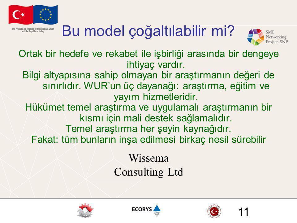 Wissema Consulting Ltd 11 Bu model çoğaltılabilir mi? Ortak bir hedefe ve rekabet ile işbirliği arasında bir dengeye ihtiyaç vardır. Bilgi altyapısına