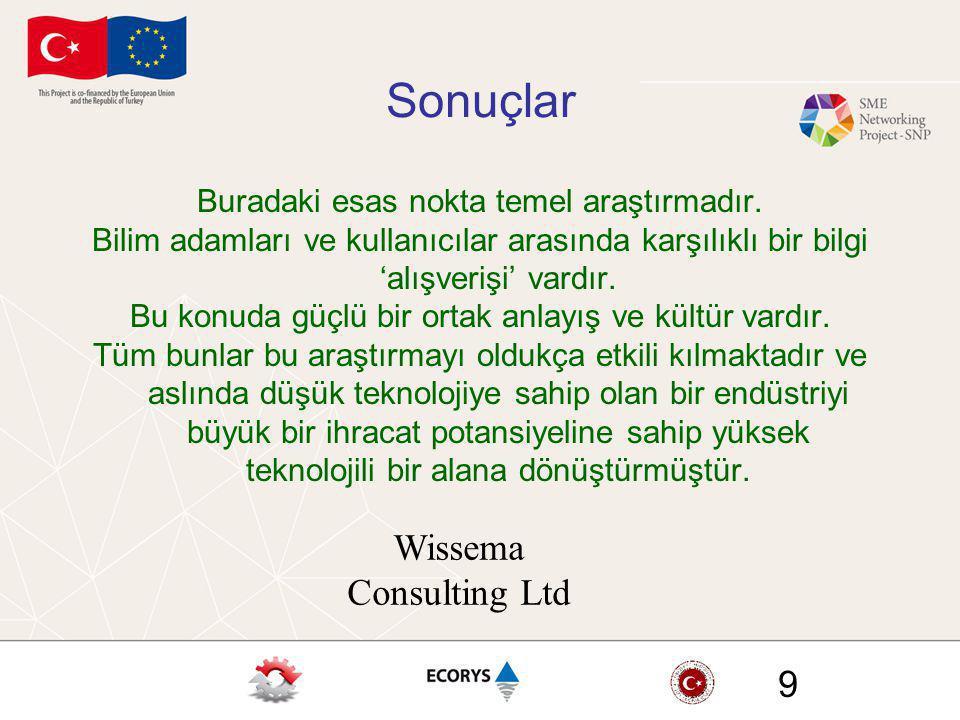 Wissema Consulting Ltd 9 Sonuçlar Buradaki esas nokta temel araştırmadır. Bilim adamları ve kullanıcılar arasında karşılıklı bir bilgi 'alışverişi' va