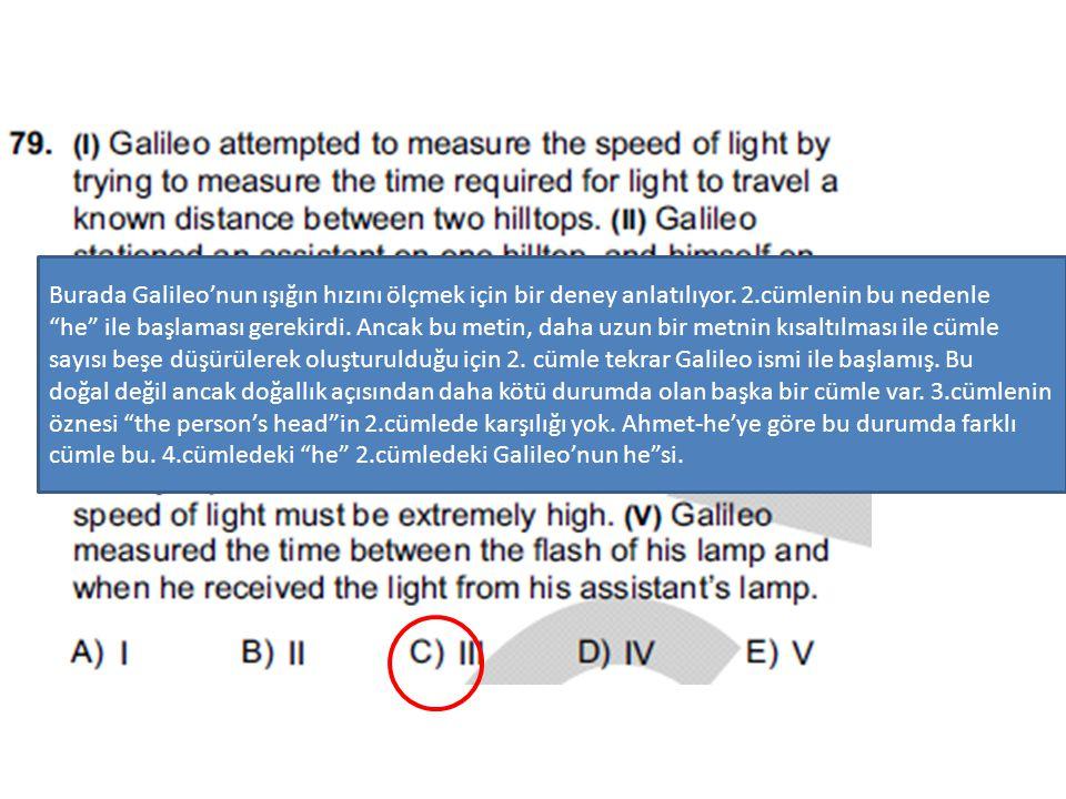 """Burada Galileo'nun ışığın hızını ölçmek için bir deney anlatılıyor. 2.cümlenin bu nedenle """"he"""" ile başlaması gerekirdi. Ancak bu metin, daha uzun bir"""