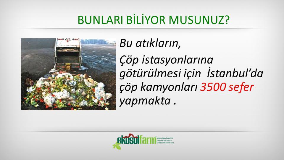 BUNLARI BİLİYOR MUSUNUZ? Bu atıkların, Çöp istasyonlarına götürülmesi için İstanbul'da çöp kamyonları 3500 sefer yapmakta.